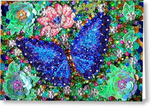 Blue Butterfly Bead Sequin Embroidery Greeting Card by Sofia Goldberg