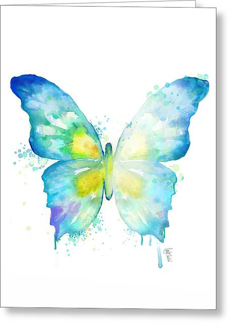 Mystic Drawings Greeting Cards - Blue Butterfly Greeting Card by Cindy Elsharouni