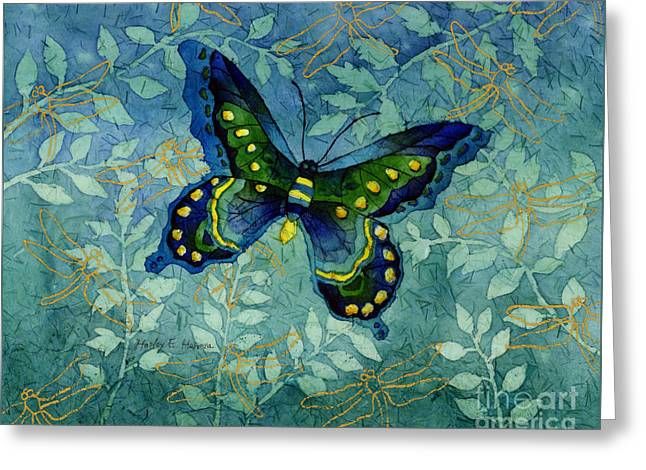 Blue Butterfly Greeting Card by Hailey E Herrera