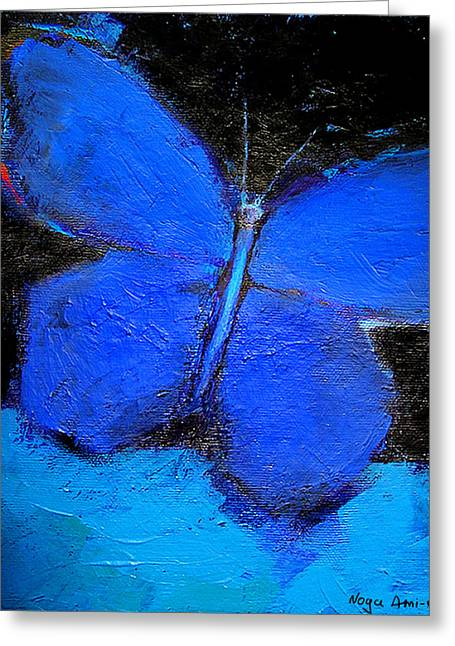 Blue Butterfly Greeting Card by Noga Ami-rav