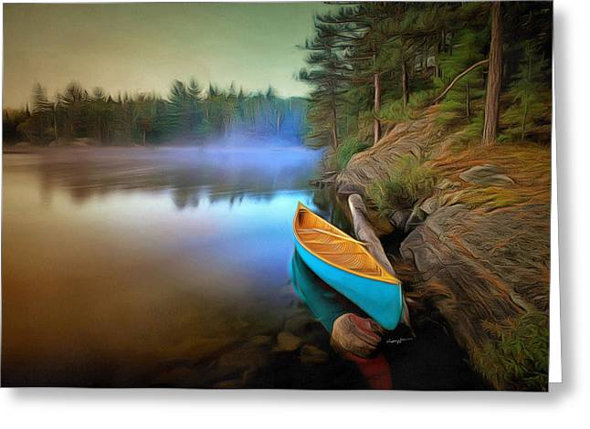 Anthony J Caruso Greeting Cards - Blue Canoe Greeting Card by Anthony Caruso