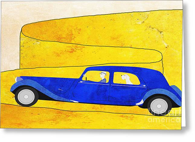 Mountain Road Drawings Greeting Cards - Blue car on the mountain road Greeting Card by J Ripley Fagence