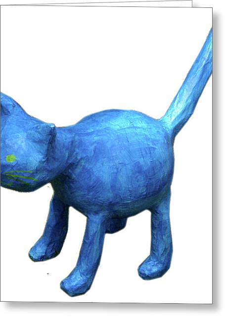 Blue Cat Greeting Card by Maria Rosa