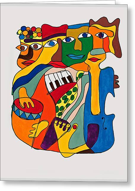 People Paintings Greeting Cards - Blue Cello Greeting Card by Martynas Ivinskas