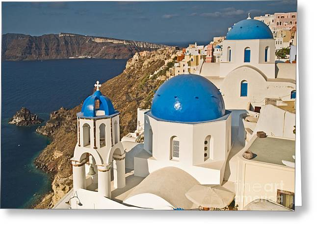 Cupola Greeting Cards - Blue Churches of Santorini Greeting Card by Jim Chamberlain