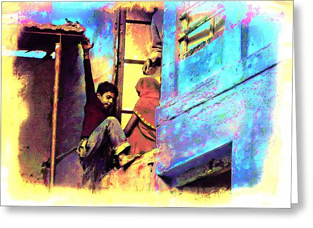 Candid Family Portraits Greeting Cards - Blue City House Difficult Doorway India Rajasthan Greeting Card by Sue Jacobi