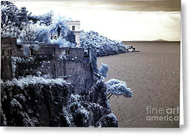 Cliffs And Houses Greeting Cards - Blue Cliff in Sorrento Greeting Card by John Rizzuto