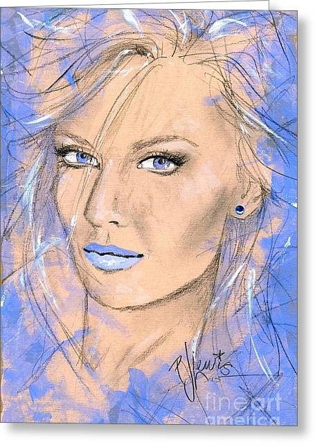 Pretty Face Greeting Cards - Blue Confidance Greeting Card by P J Lewis