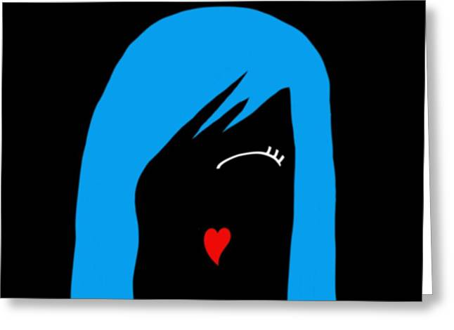 Goth Girl Digital Art Greeting Cards - Blue Cosplay Girl Greeting Card by Bri Lou