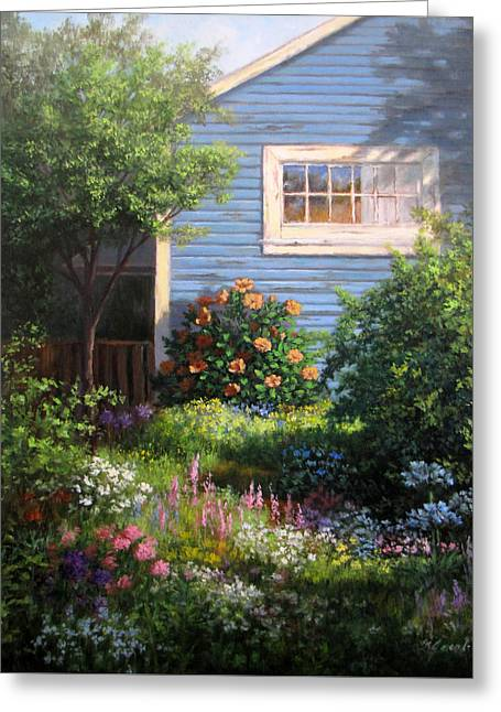 Cottage Print Greeting Cards - Blue Cottage Greeting Card by Linda Jacobus