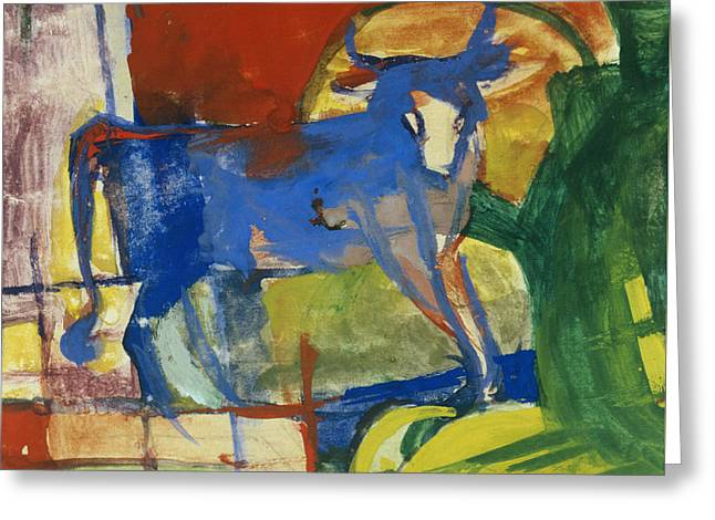 Blue Blocks Greeting Cards - Blue Cow Greeting Card by Franz Marc