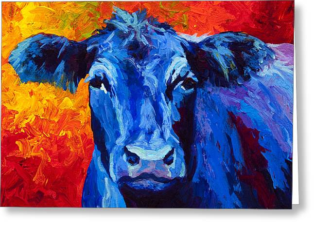 Blue Cow II Greeting Card by Marion Rose