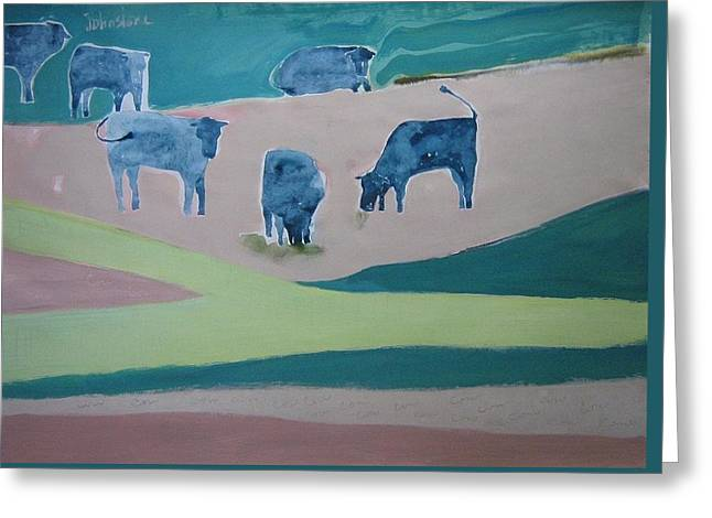 Beige Abstract Greeting Cards - Blue Cows Greeting Card by Toni Johnstone