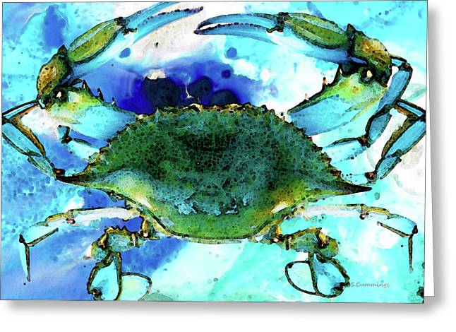 Fresh Mixed Media Greeting Cards - Blue Crab - Abstract Seafood Painting Greeting Card by Sharon Cummings