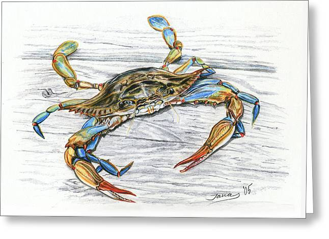 Blue Crab Greeting Card by Jana Goode