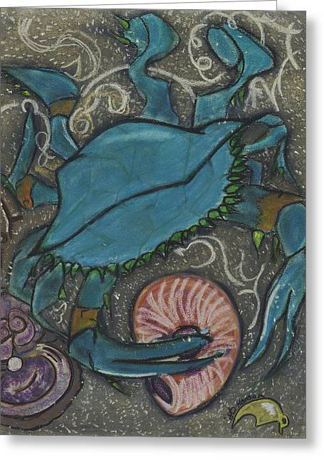 Blue Pastels Greeting Cards - Blue Crab Greeting Card by Stu Hanson