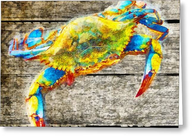 Crustacean Greeting Cards - Blue Crabs Greeting Card by Edward Fielding