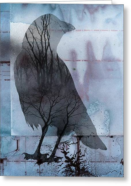 Crow Collage Greeting Cards - Blue Crow Nature Greeting Card by Gothicolors Donna Snyder