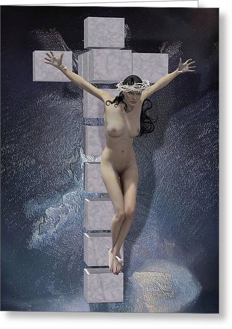 Religious Mixed Media Greeting Cards - Crucified on the cross Hypercube Greeting Card by Joaquin Abella