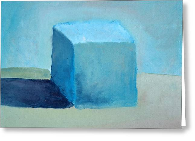 Geometric Image Greeting Cards - Blue Cube Still Life Greeting Card by Michelle Calkins