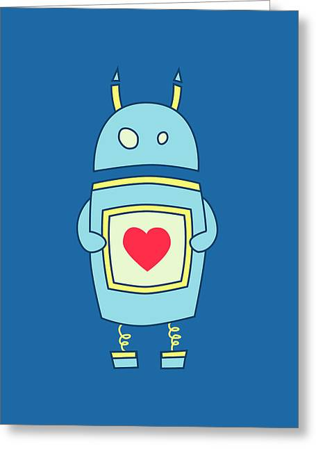 Robots Greeting Cards - Blue Cute Clumsy Robot With Heart Greeting Card by Boriana Giormova