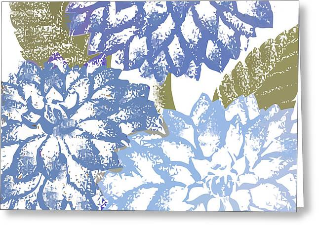 Blue Dahlias Greeting Card by Mindy Sommers