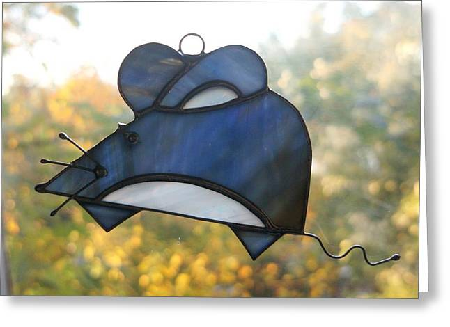 Panel Glass Art Greeting Cards - Blue Dainty Mouse Greeting Card by Alena Kogan