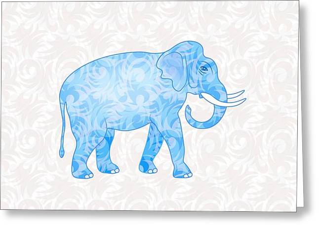 Blue Damask Elephant Greeting Card by Antique Images