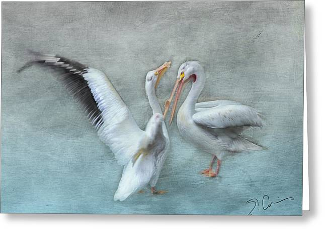 Seabirds Greeting Cards - Blue Dance Greeting Card by Evie Carrier