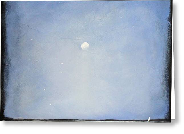 Minimalist Landscape Greeting Cards - Blue Day Greeting Card by Toni Grote
