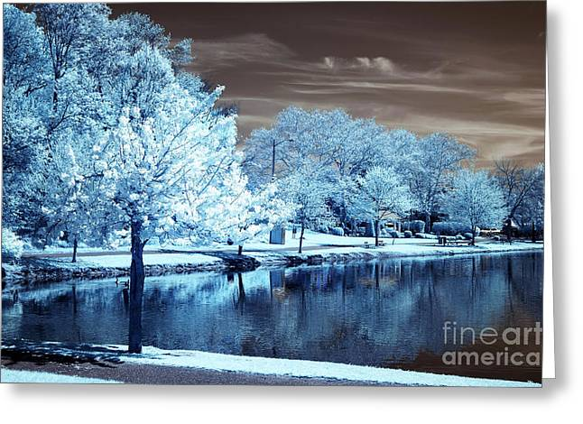 Dazed Greeting Cards - Blue Daze in South River Greeting Card by John Rizzuto