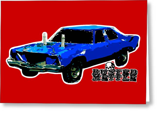 Blue Demo Derby Car Greeting Card by George Randolph Miller