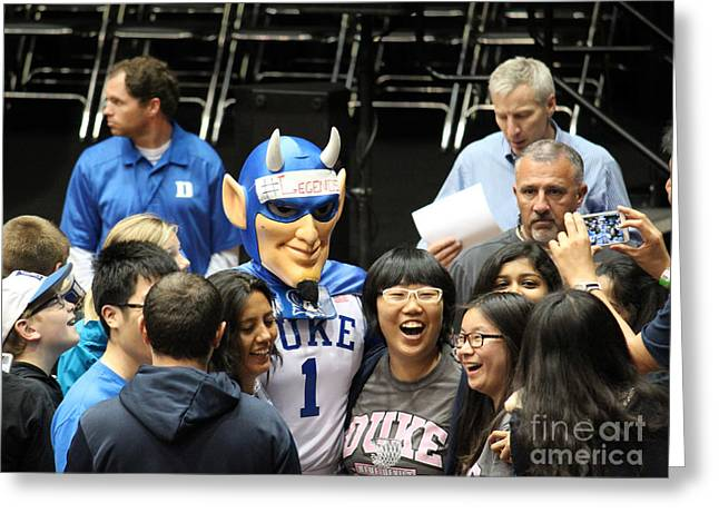 Duke Boys Greeting Cards - Blue Devil Selfie Greeting Card by Robert Yaeger