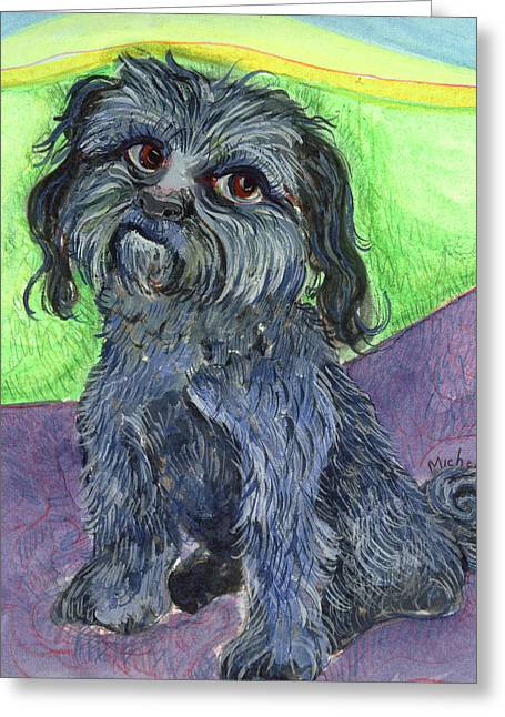 Blue Dog Greeting Card by Michelle Spiziri