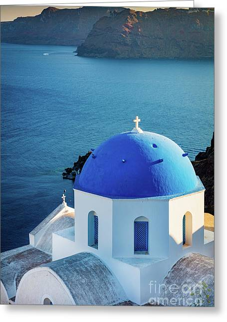 Blue Dome Greeting Card by Inge Johnsson