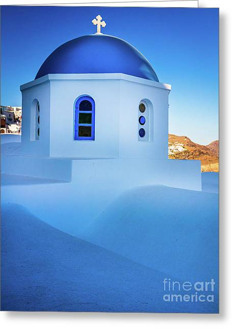 Blue Domed Chapel Greeting Card by Inge Johnsson