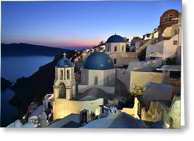 Blue Domes Of Santorini Greeting Card by Edwin Verin