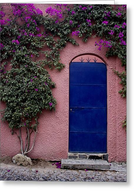 Colorful Southwest Greeting Cards - Blue Door and Bougainvilleas Greeting Card by Carol Leigh