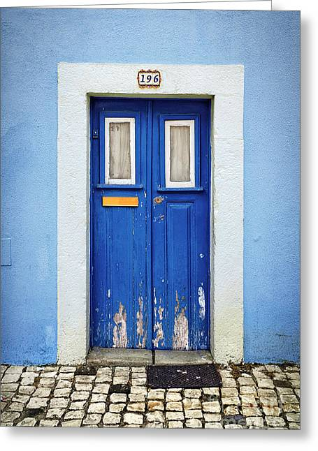 Touristic Greeting Cards - Blue Door Greeting Card by Carlos Caetano