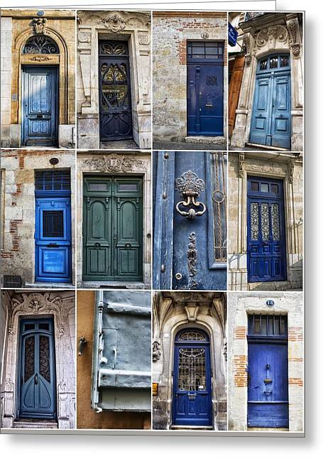 French Doors Greeting Cards - Blue Door Collection Greeting Card by Georgia Fowler
