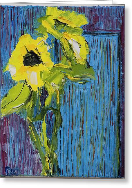 Van Gogh Style Greeting Cards - Blue Door Greeting Card by Dan Castle