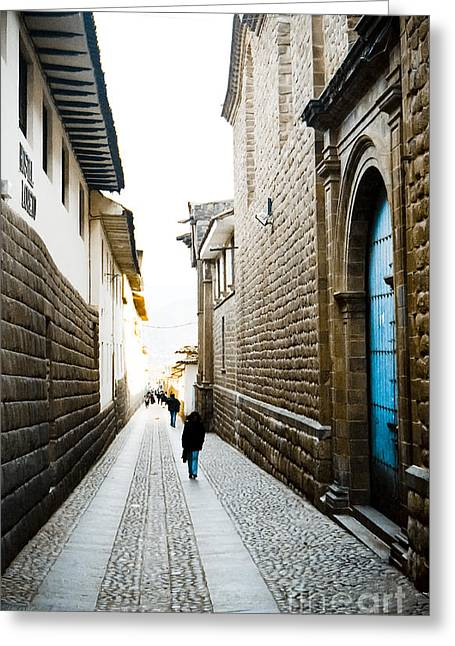 35mm Photographs Greeting Cards - Blue Door in Cusco Greeting Card by Darcy Michaelchuk