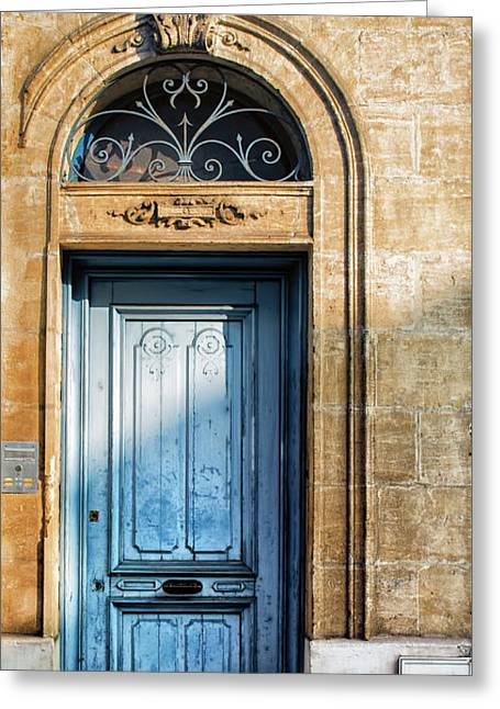 France Doors Greeting Cards - Blue Door in Sunlight Greeting Card by Georgia Fowler