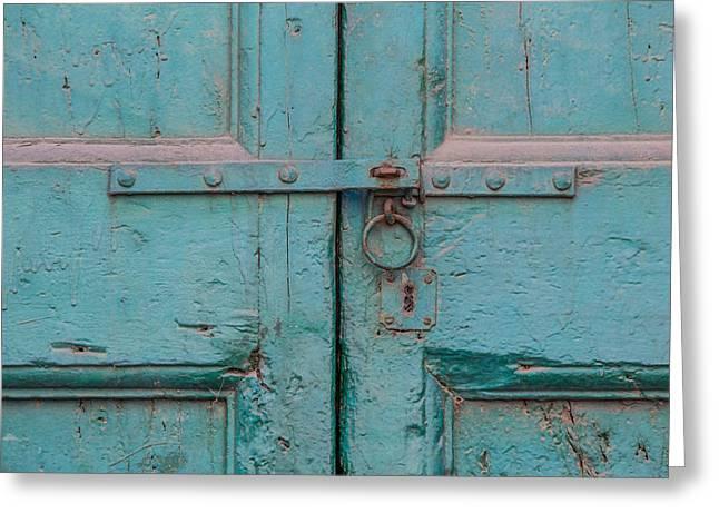 Italian Wine Greeting Cards - Blue Door of Cortona Greeting Card by David Letts