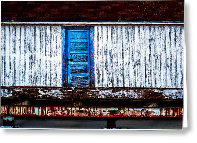 Blue Door Old Mill Building Greeting Card by Donna Lee