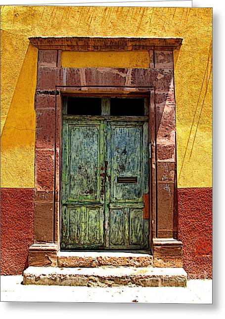 Portal Greeting Cards - Blue Door Greeting Card by Olden Mexico