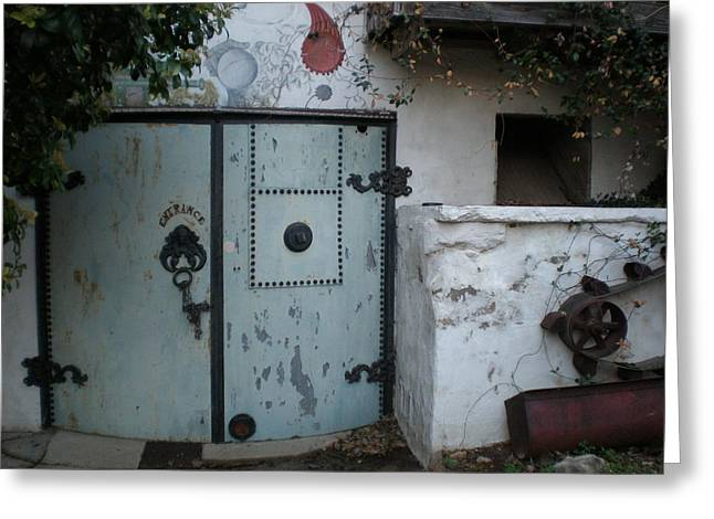Feed Mill Cafe Greeting Cards - Blue Door Greeting Card by Sheep McTavish