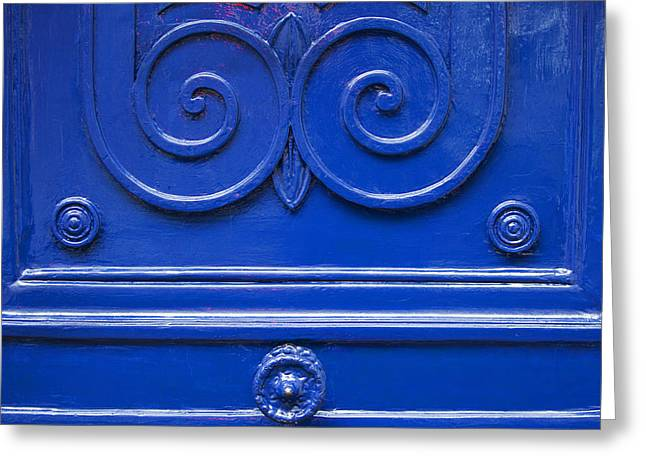 Entryway Greeting Cards - Blue Door Swirls Greeting Card by Art Block Collections