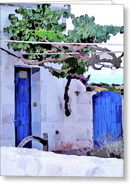 Mediterranean Landscape Digital Art Greeting Cards - Blue Doors Greeting Card by Dee Flouton