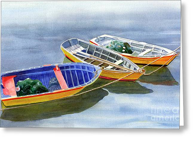 Blue Dory Greeting Card by Sharon Freeman